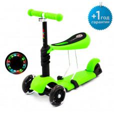 Детский трёхколёсный самокат беговел Scooter Micar Rider 3 в 1 с сиденьем и светящимися колёсами Зелёный