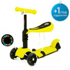 Детский трёхколёсный самокат беговел Scooter Micar Rider 3 в 1 с сиденьем и светящимися колёсами Жёлтый