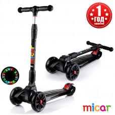Детский складной трёхколёсный самокат со светящимися колёсами Scooter Maxi Micar Ultra Чёрный