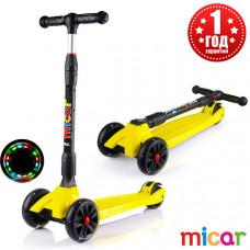 Детский складной трёхколёсный самокат со светящимися колёсами Scooter Maxi Micar Ultra Жёлтый