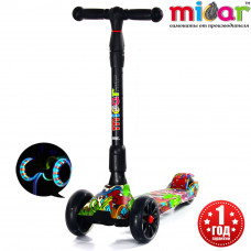 Детский складной трёхколёсный самокат со светящимися колёсами Scooter Maxi Micar Ultra Hip-Hop