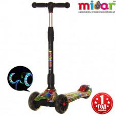 Детский складной трёхколёсный самокат со светящимися колёсами Scooter Maxi Micar Ultra Monsters