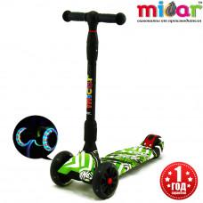 Детский складной трёхколёсный самокат со светящимися колёсами Scooter Maxi Micar Ultra Comics