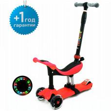 Детский трёхколёсный самокат беговел 4 в 1 с сиденьем и родительской ручкой Scooter Micar Dino Красный