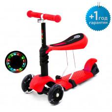 Детский трёхколёсный самокат беговел Scooter Micar Rider 3 в 1 с сиденьем и светящимися колёсами Красный