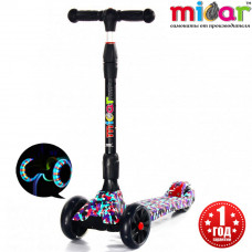 Детский складной трёхколёсный самокат со светящимися колёсами Scooter Maxi Micar Ultra Mosaic