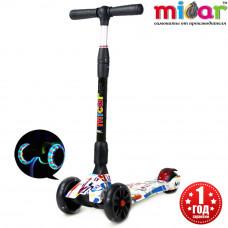 Детский складной трёхколёсный самокат со светящимися колёсами Scooter Maxi Micar Ultra Граффити