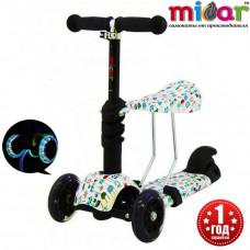 Детский трёхколёсный самокат беговел Scooter Micar Rider 3 в 1 с сиденьем и светящимися колёсами Pixel