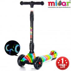 Детский складной трёхколёсный самокат со светящимися колёсами Scooter Maxi Micar Ultra Rainbow