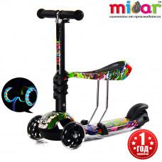 Детский трёхколёсный самокат беговел Scooter Micar Rider 3 в 1 с сиденьем и светящимися колёсами Hip-Hop