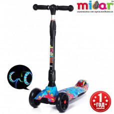 Детский складной трёхколёсный самокат со светящимися колёсами Scooter Maxi Micar Ultra Juicy