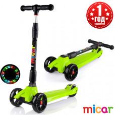 Детский складной трёхколёсный самокат со светящимися колёсами Scooter Maxi Micar Ultra Зелёный