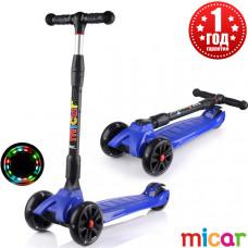Детский складной трёхколёсный самокат со светящимися колёсами Scooter Maxi Micar Ultra Синий