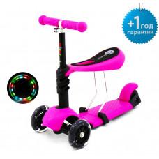 Детский трёхколёсный самокат беговел Scooter Micar Rider 3 в 1 с сиденьем и светящимися колёсами Розовый