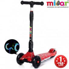 Детский складной трёхколёсный самокат со светящимися колёсами Scooter Maxi Micar Ultra Spider
