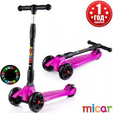 Детский складной трёхколёсный самокат со светящимися колёсами Scooter Maxi Micar Ultra Фуксия