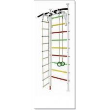 Шведская стенка Враспор с турником, кольцами, канатом и лестницей MUROMS-Z54 Белая