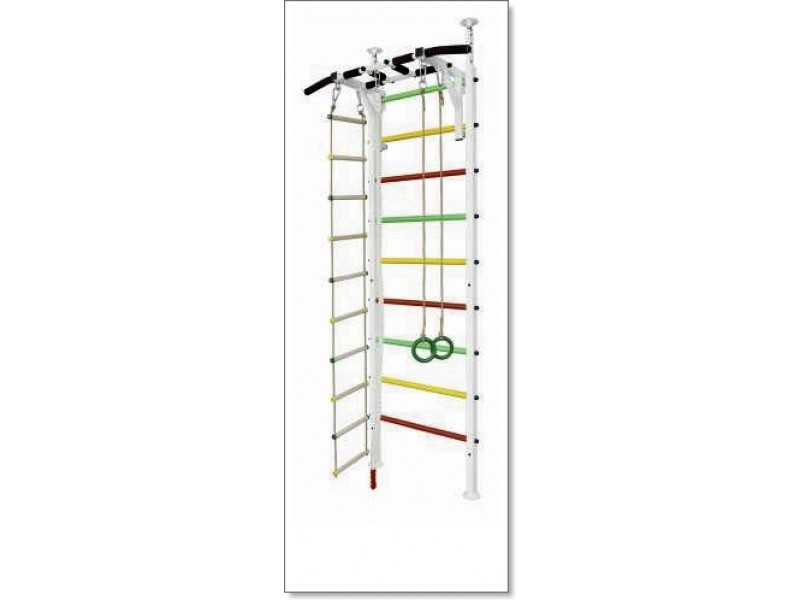 Шведская стенка в распор с турником, кольцами, канатом и лестницей MUROMS-Z54 Белая