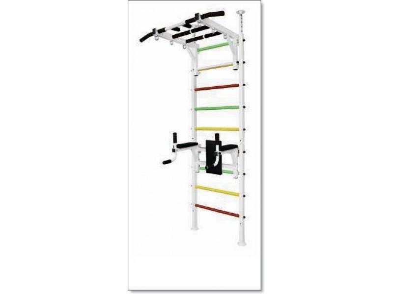 Шведская стенка в распор с рукоходом, брусьями и тренажером для пресса MUROMS-Z78 Белая