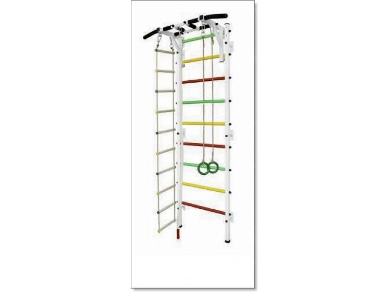 Шведская стенка с турником, кольцами, канатом и лестницей MUROMS-Z28 Белая