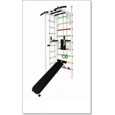 Шведская стенка в распор с рукоходом, брусьями, скамьей, кольцами, лестницей и канатом MUROMS-Z70 Белая