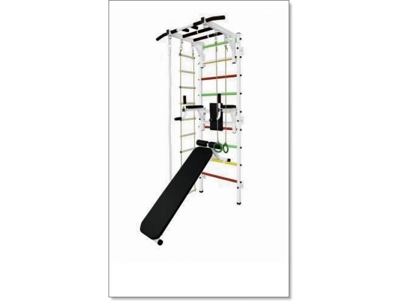 Шведская стенка с рукоходом, брусьями, скамьей, канатом, кольцами и лестницей MUROMS-Z42 Белая