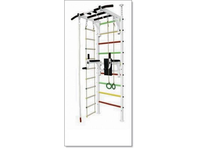 Шведская стенка в распор с рукоходом, брусьями, кольцами, лестницей и канатом MUROMS-Z69 Белая