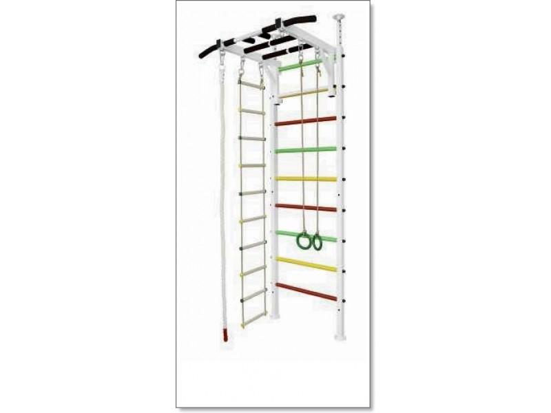 Шведская стенка в распор с турником Рукоход, кольцами, канатом и лестницей MUROMS-Z68 Белая