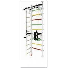 Шведская стенка Враспор с турником, брусьями, канатом, кольцами и лестницей MUROMS-Z55 Белая