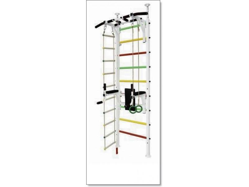 Шведская стенка в распор с турником, брусьями, канатом, кольцами и лестницей MUROMS-Z55 Белая