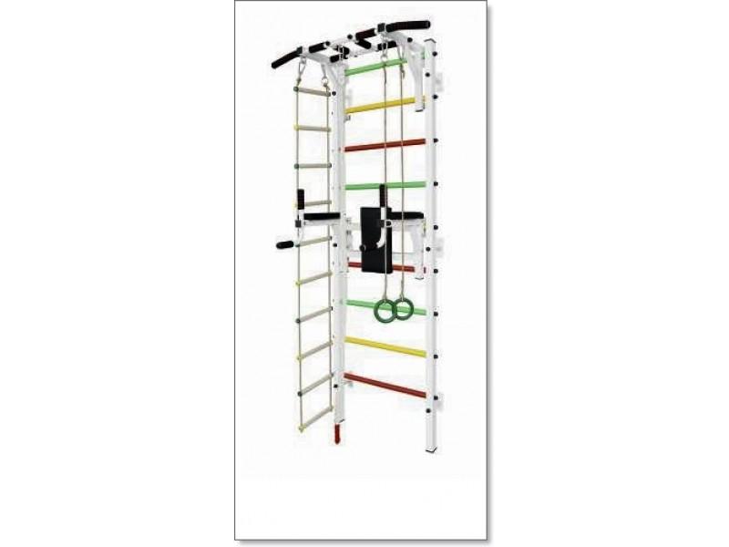 Шведская стенка с турником, брусьями, канатом, кольцами и лестницей MUROMS-Z88 Белая