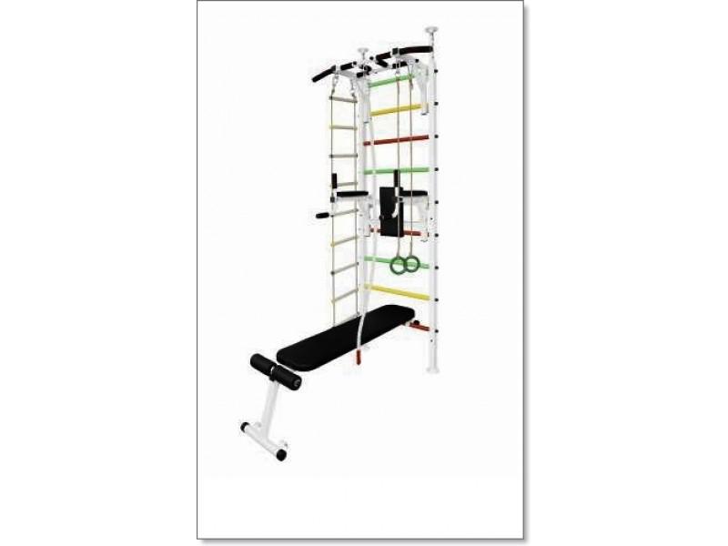 Шведская стенка в распор с турником, брусьями, скамьей, канатом, кольцами и лестницей MUROMS-Z61 Белая