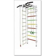 Шведская стенка с турником рукоход, кольцами, канатом и лестницей MUROMS-Z41 Белая