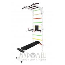 Шведская стенка с рукоходом, брусьями, скамьей и упорами под штангу MUROMS-Z93 Белая
