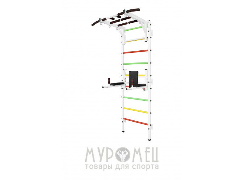 Шведская стенка с турником Рукоход, брусьями и упорами под штангу MUROMS-Z48 Белая