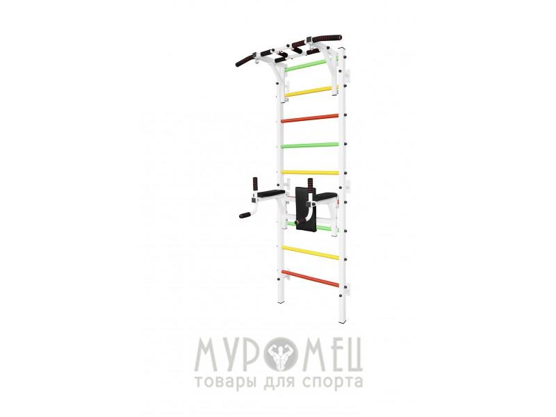 Шведская стенка с турником, брусьями и тренажером для пресса MUROMS-Z35 Белая